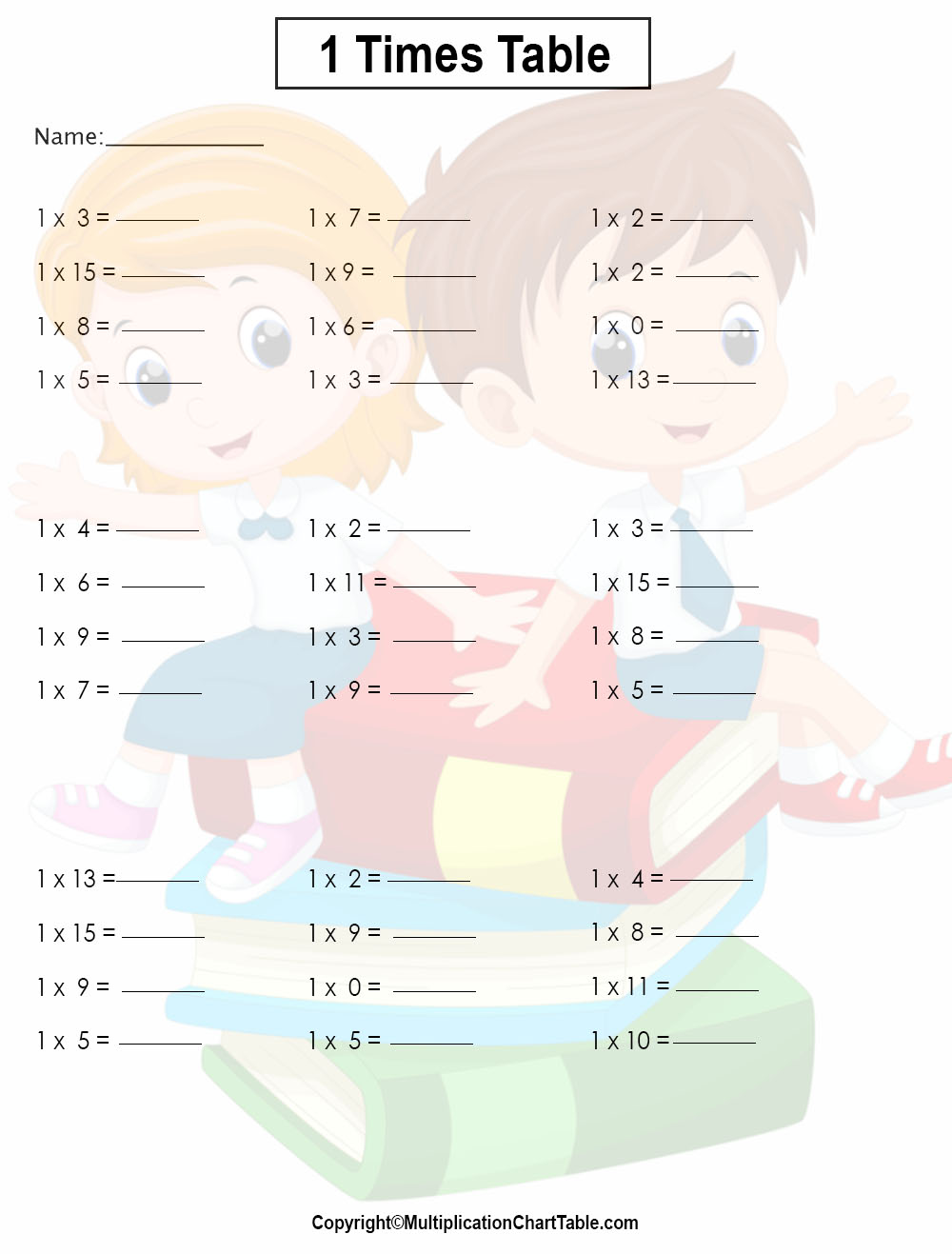 1 times table worksheets