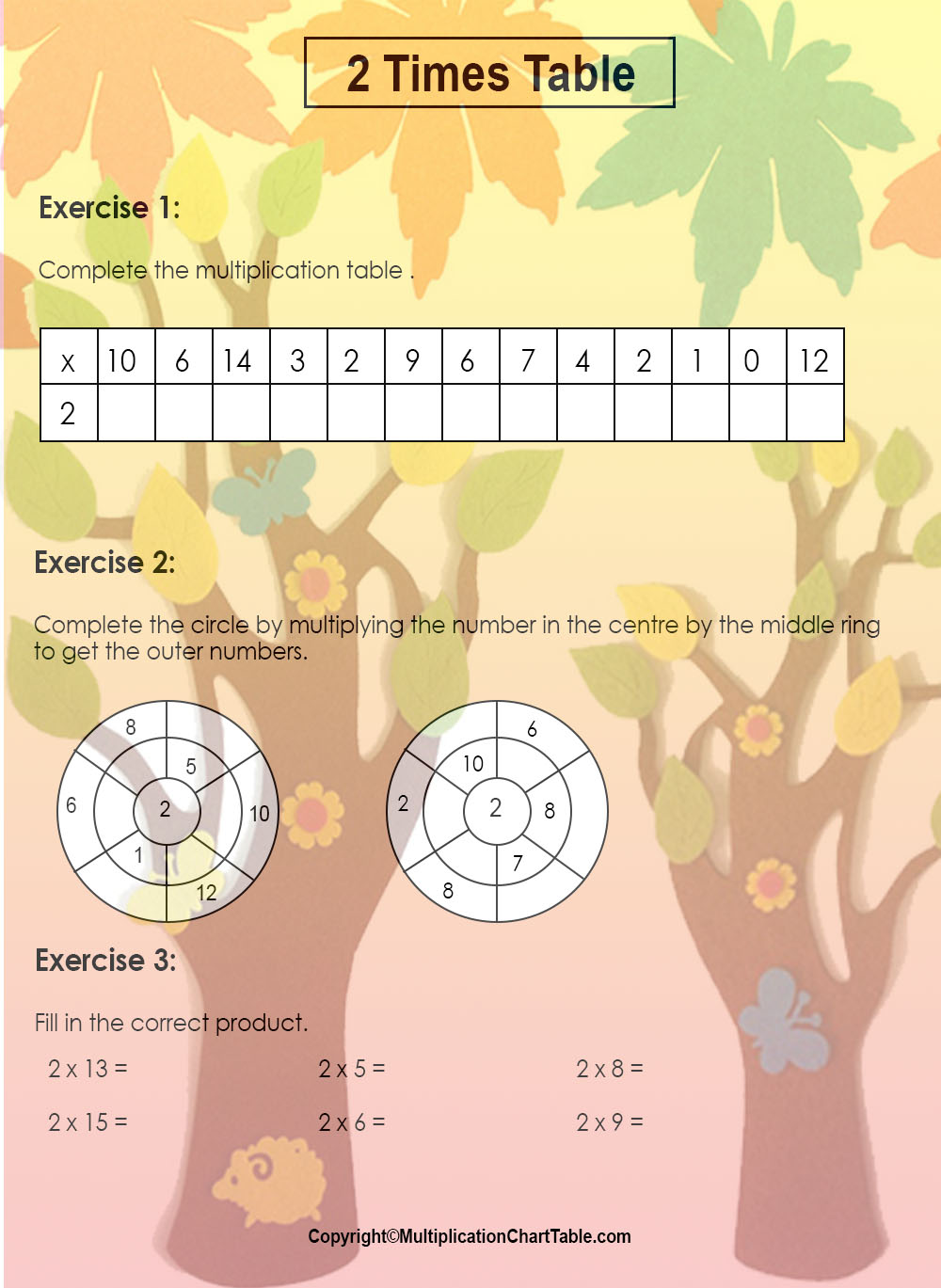 2 times table worksheets