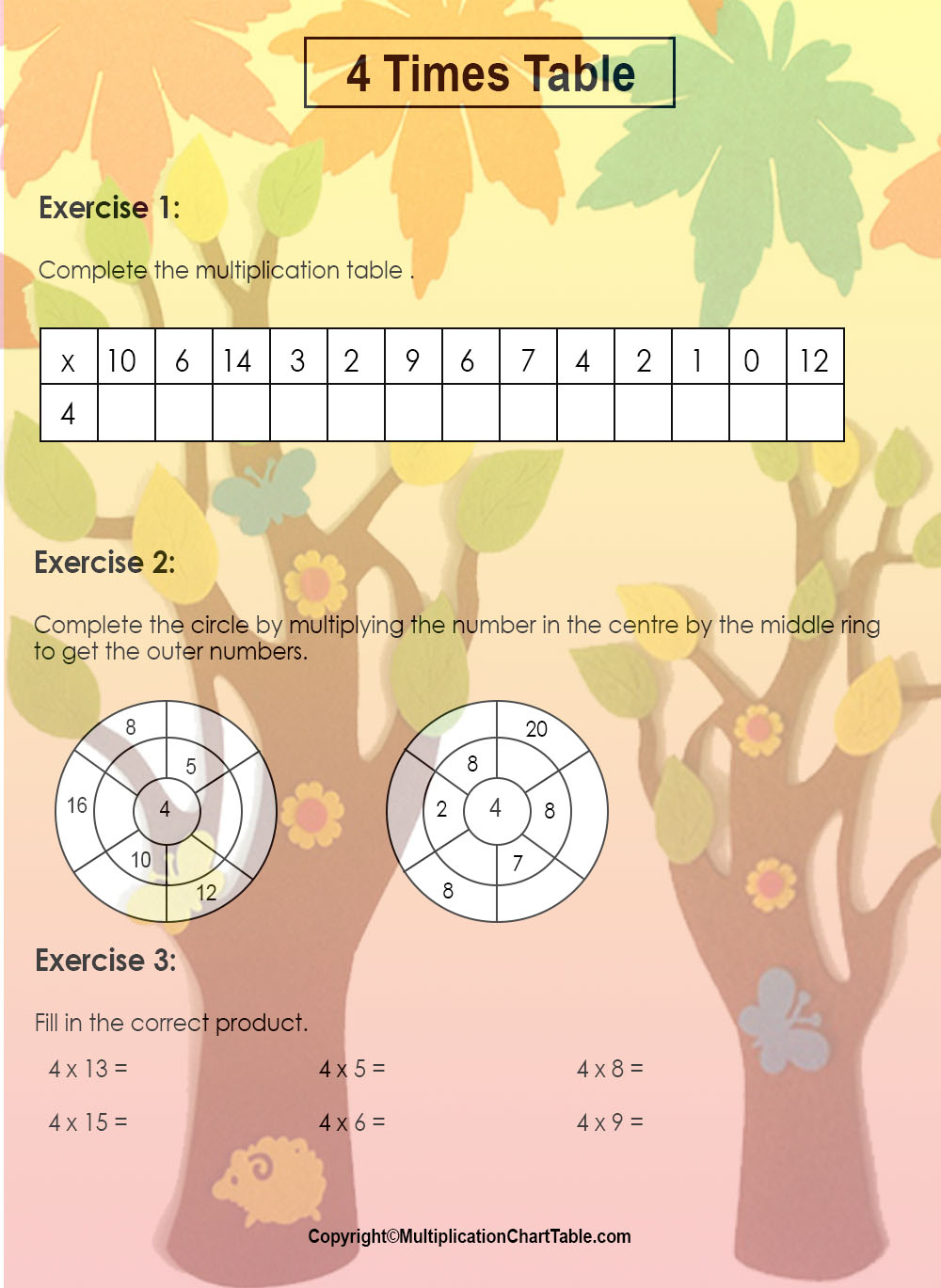 4 times table worksheets