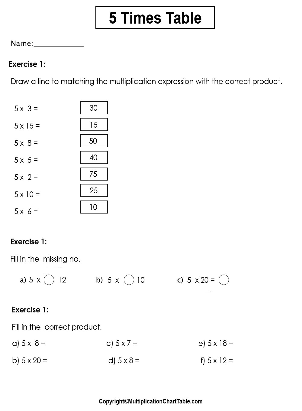 5 times table worksheets